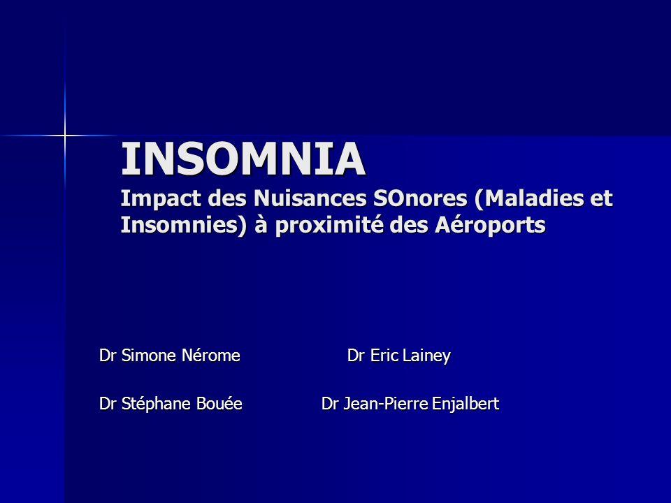 INSOMNIA Impact des Nuisances SOnores (Maladies et Insomnies) à proximité des Aéroports