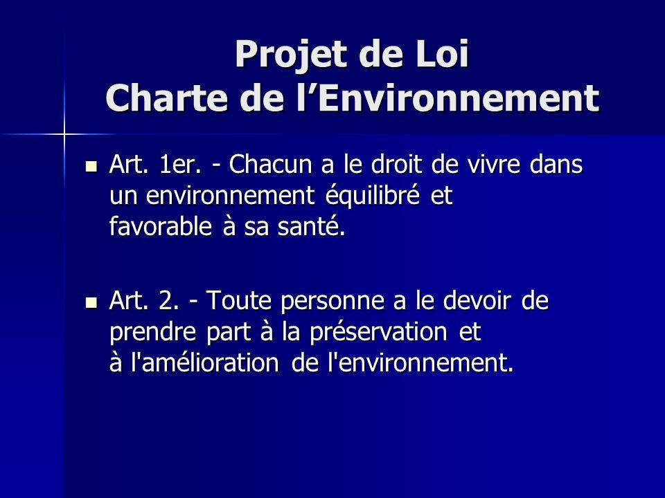 Projet de Loi Charte de l'Environnement