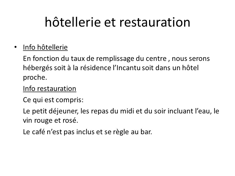 hôtellerie et restauration