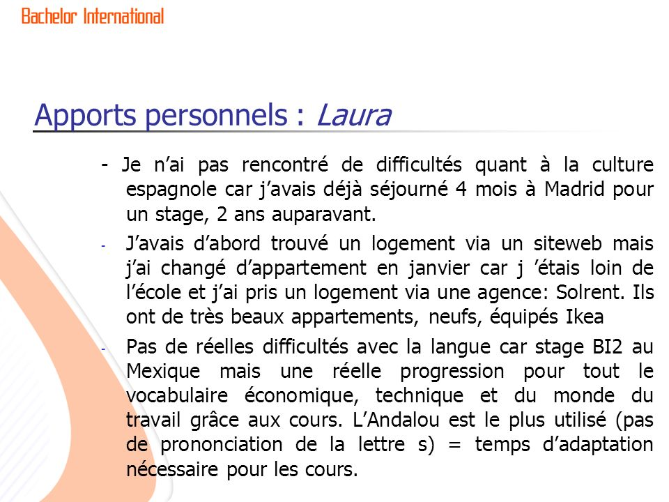 Apports personnels : Laura