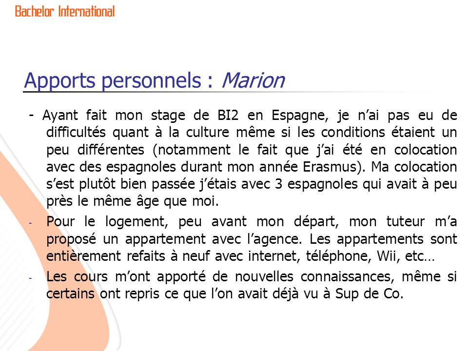 Apports personnels : Marion
