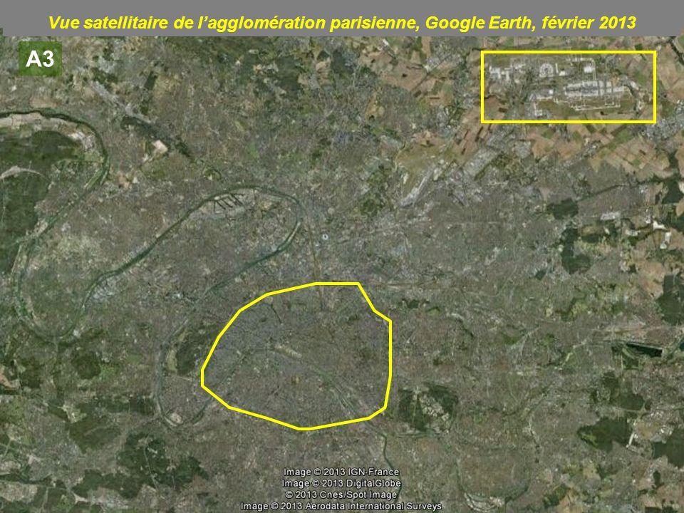 Vue satellitaire de l'agglomération parisienne, Google Earth, février 2013