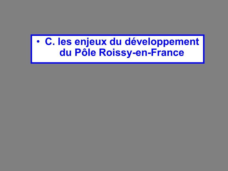 C. les enjeux du développement du Pôle Roissy-en-France