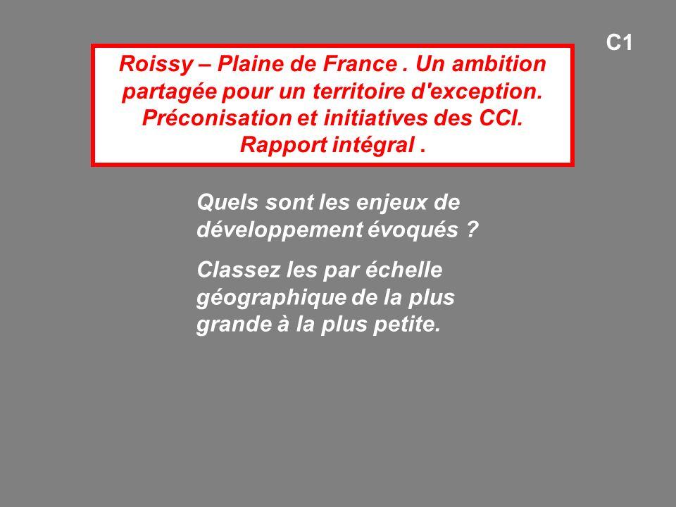 C1 Roissy – Plaine de France . Un ambition partagée pour un territoire d exception. Préconisation et initiatives des CCI. Rapport intégral .