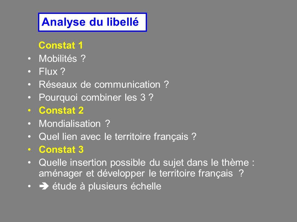 Analyse du libellé Constat 1 Mobilités Flux