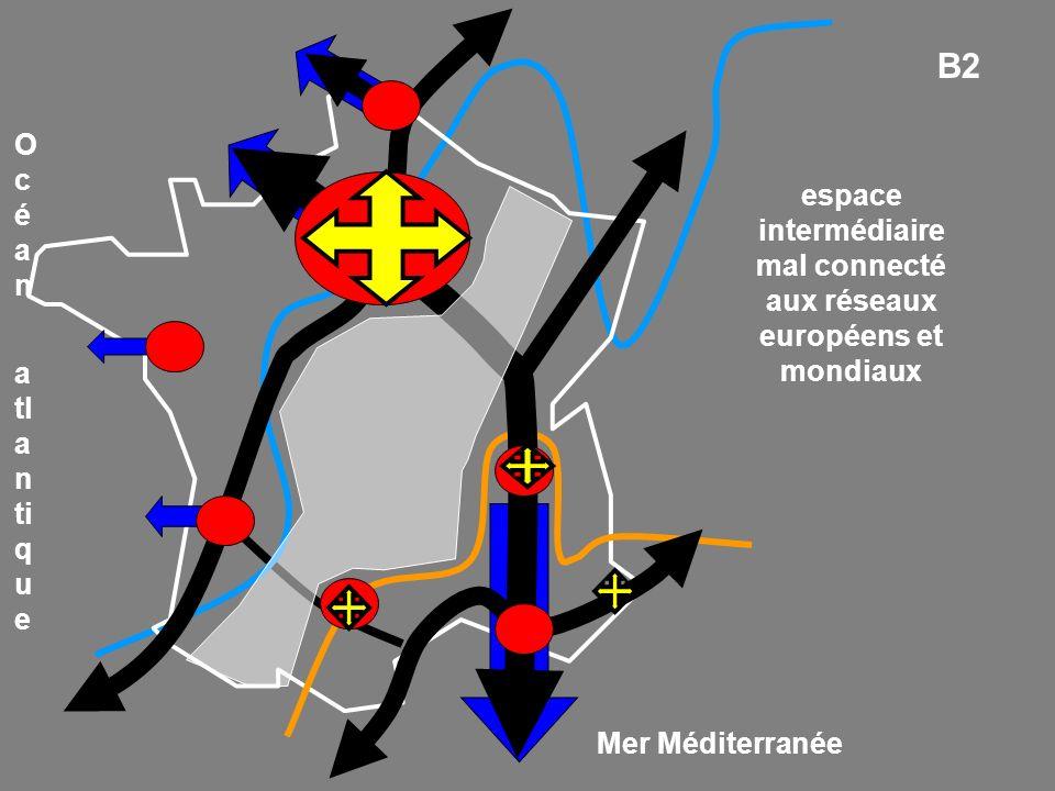 espace intermédiaire mal connecté aux réseaux européens et mondiaux