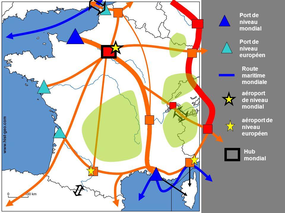 Port de niveau mondial Port de niveau européen. Route maritime mondiale. aéroport de niveau mondial.