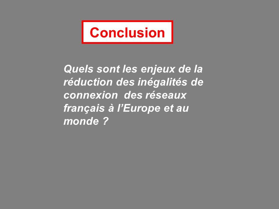 Conclusion Quels sont les enjeux de la réduction des inégalités de connexion des réseaux français à l'Europe et au monde