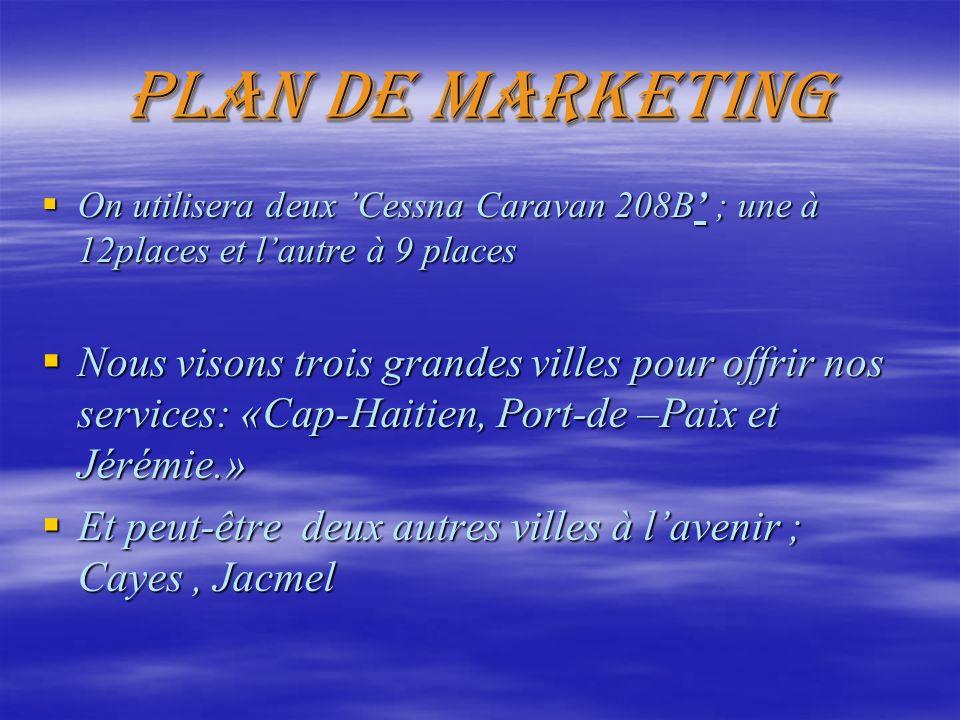 Plan de marketing On utilisera deux 'Cessna Caravan 208B' ; une à 12places et l'autre à 9 places.