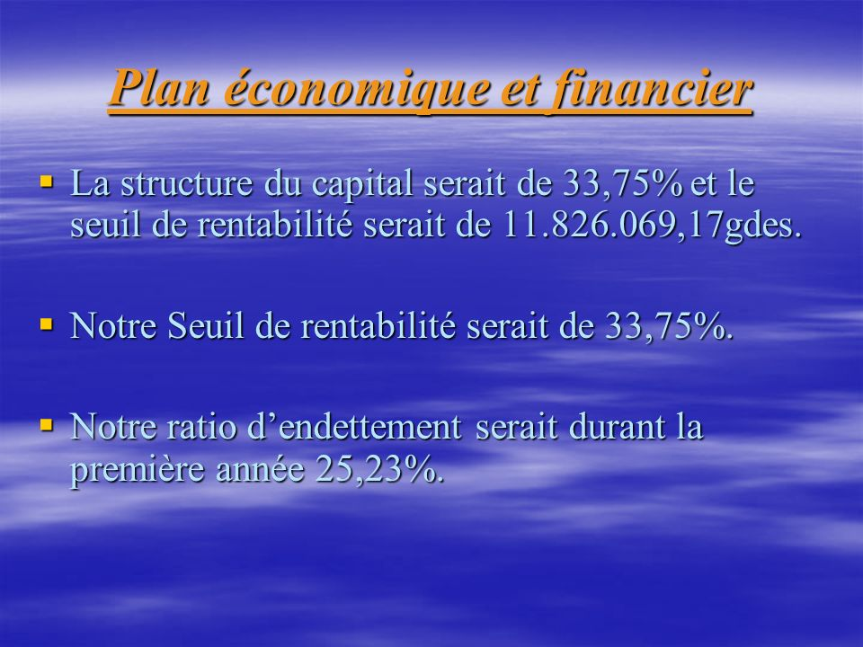 Plan économique et financier