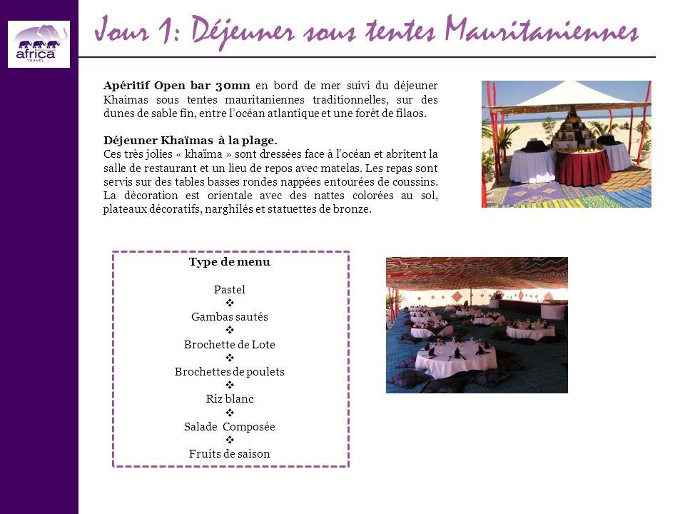 Jour 1: Déjeuner sous tentes Mauritaniennes