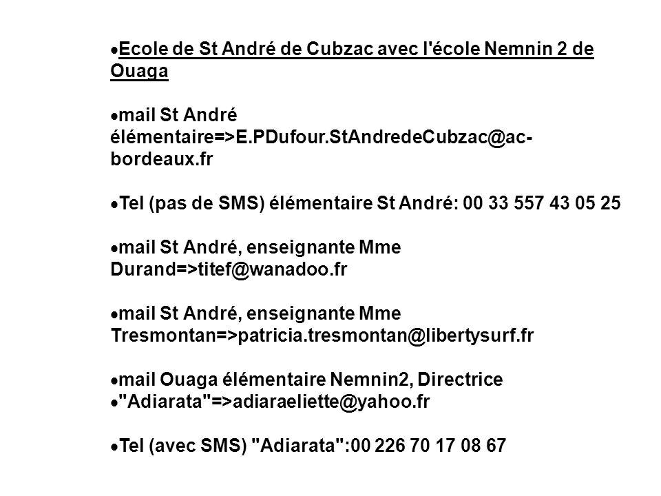 Ecole de St André de Cubzac avec l école Nemnin 2 de Ouaga