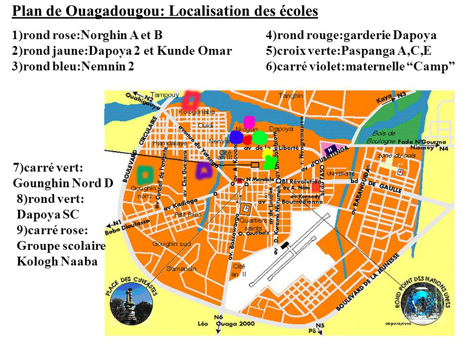 Plan de Ouagadougou: Localisation des écoles