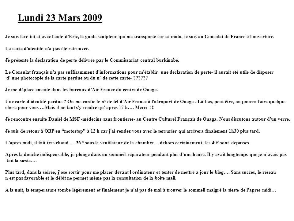 Lundi 23 Mars 2009