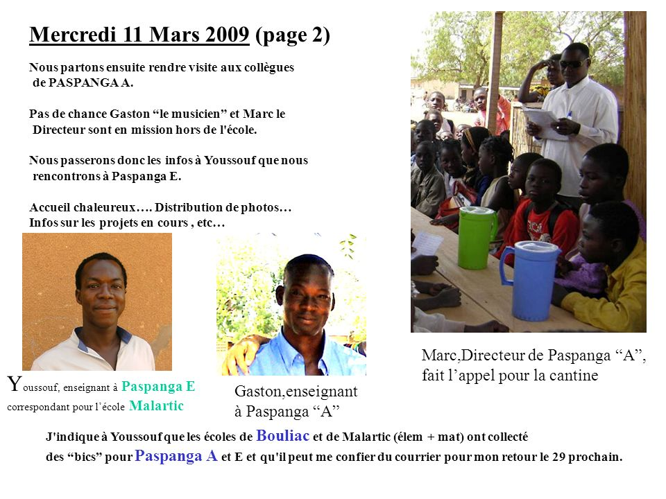 Youssouf, enseignant à Paspanga E