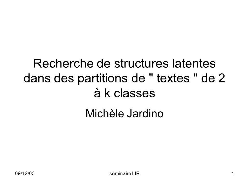 Recherche de structures latentes dans des partitions de textes de 2 à k classes