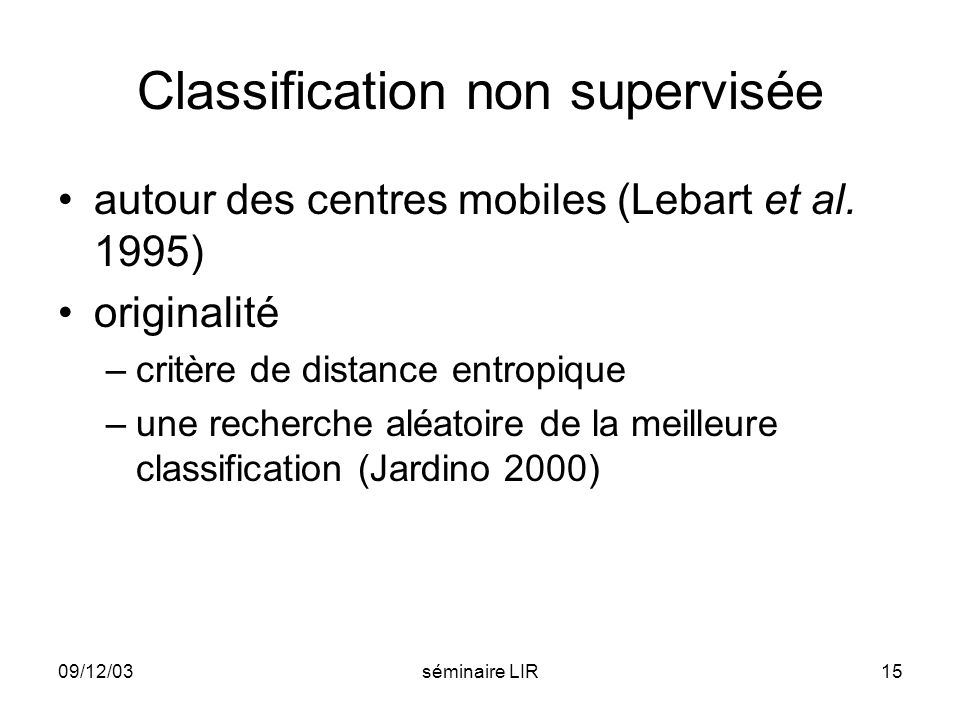 Classification non supervisée