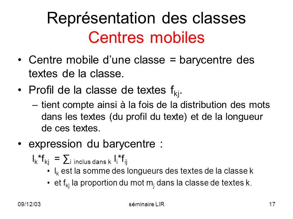 Représentation des classes Centres mobiles