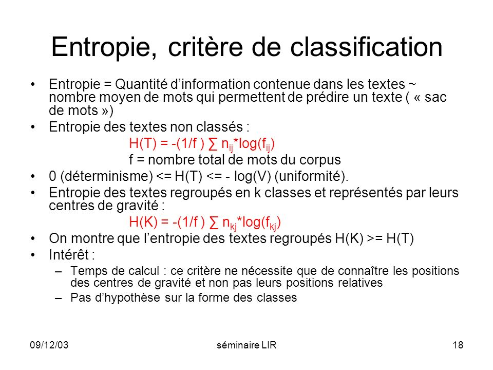 Entropie, critère de classification