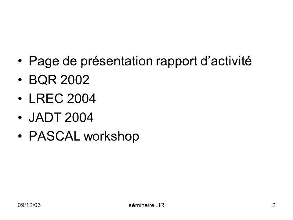 Page de présentation rapport d'activité BQR 2002 LREC 2004 JADT 2004