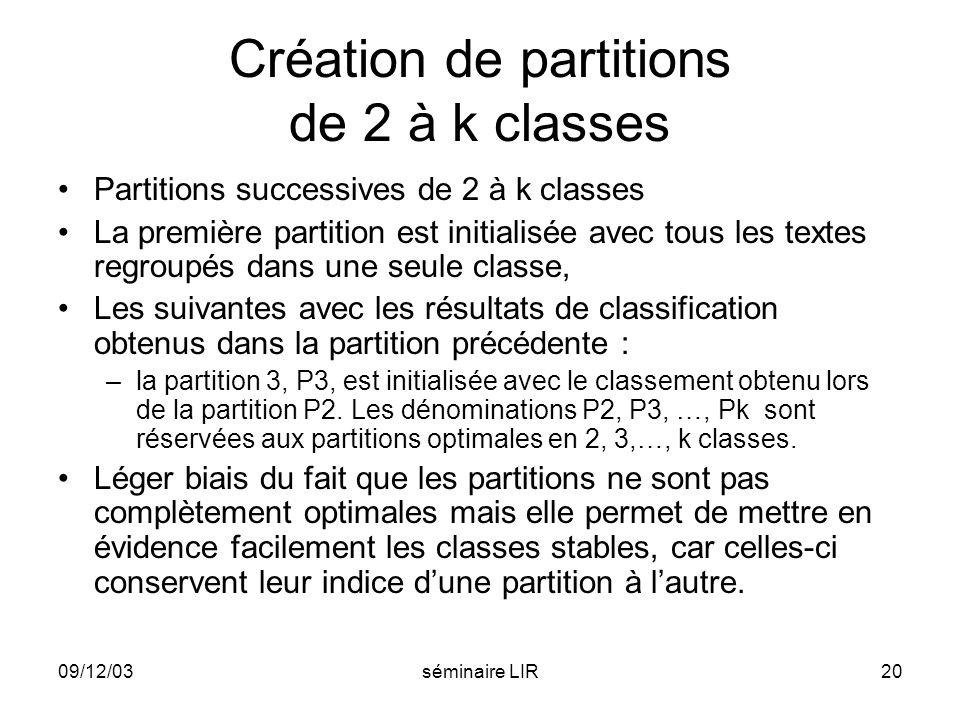 Création de partitions de 2 à k classes