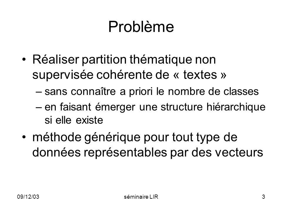 Problème Réaliser partition thématique non supervisée cohérente de « textes » sans connaître a priori le nombre de classes.