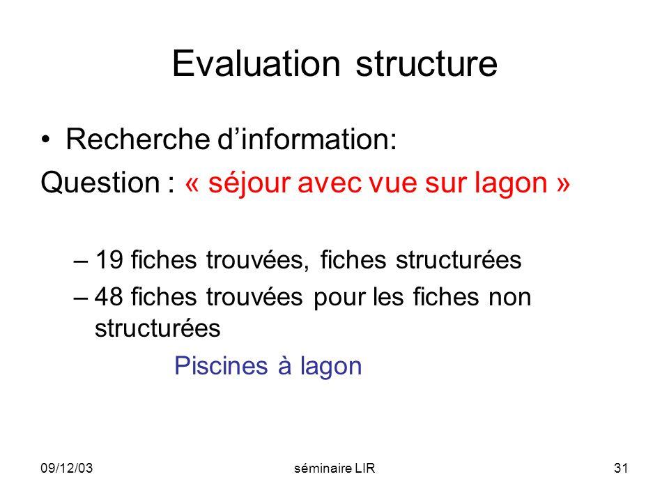Evaluation structure Recherche d'information: