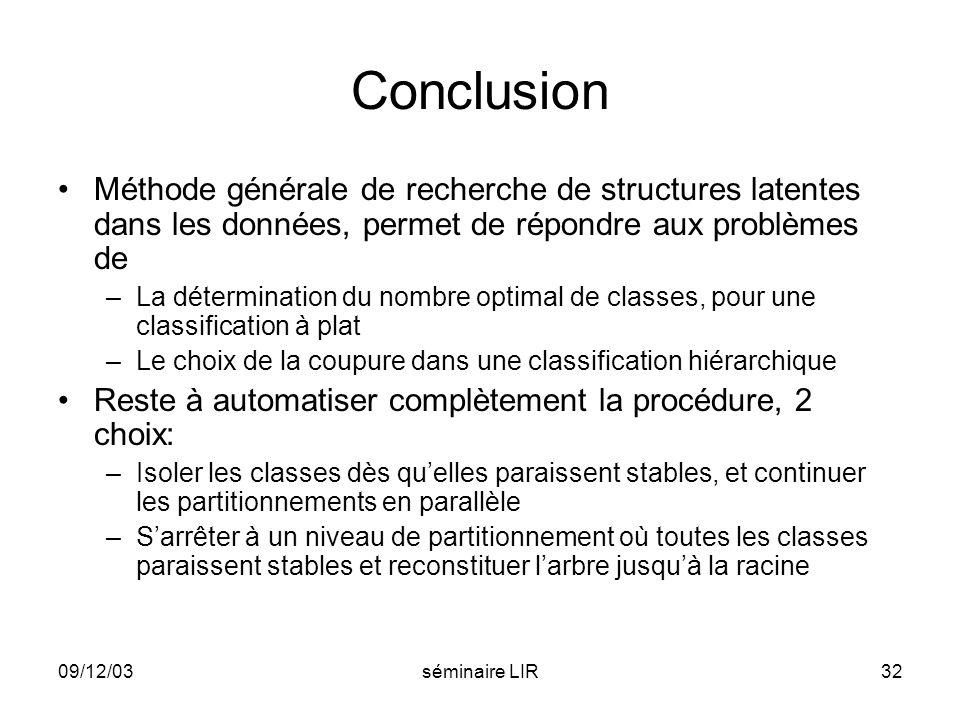 Conclusion Méthode générale de recherche de structures latentes dans les données, permet de répondre aux problèmes de.