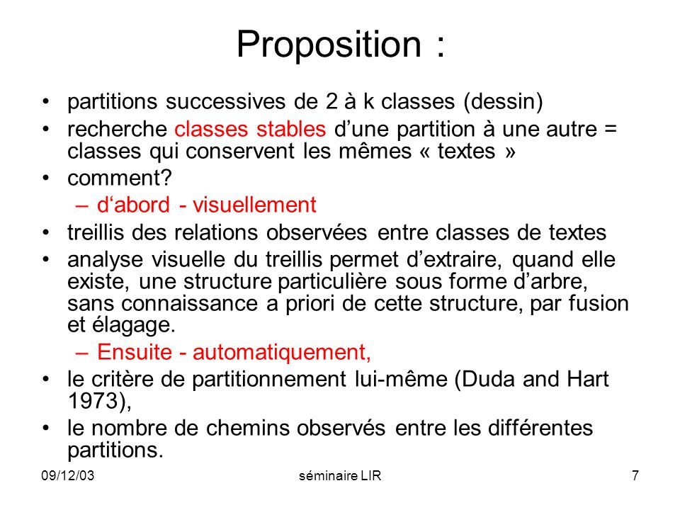 Proposition : partitions successives de 2 à k classes (dessin)