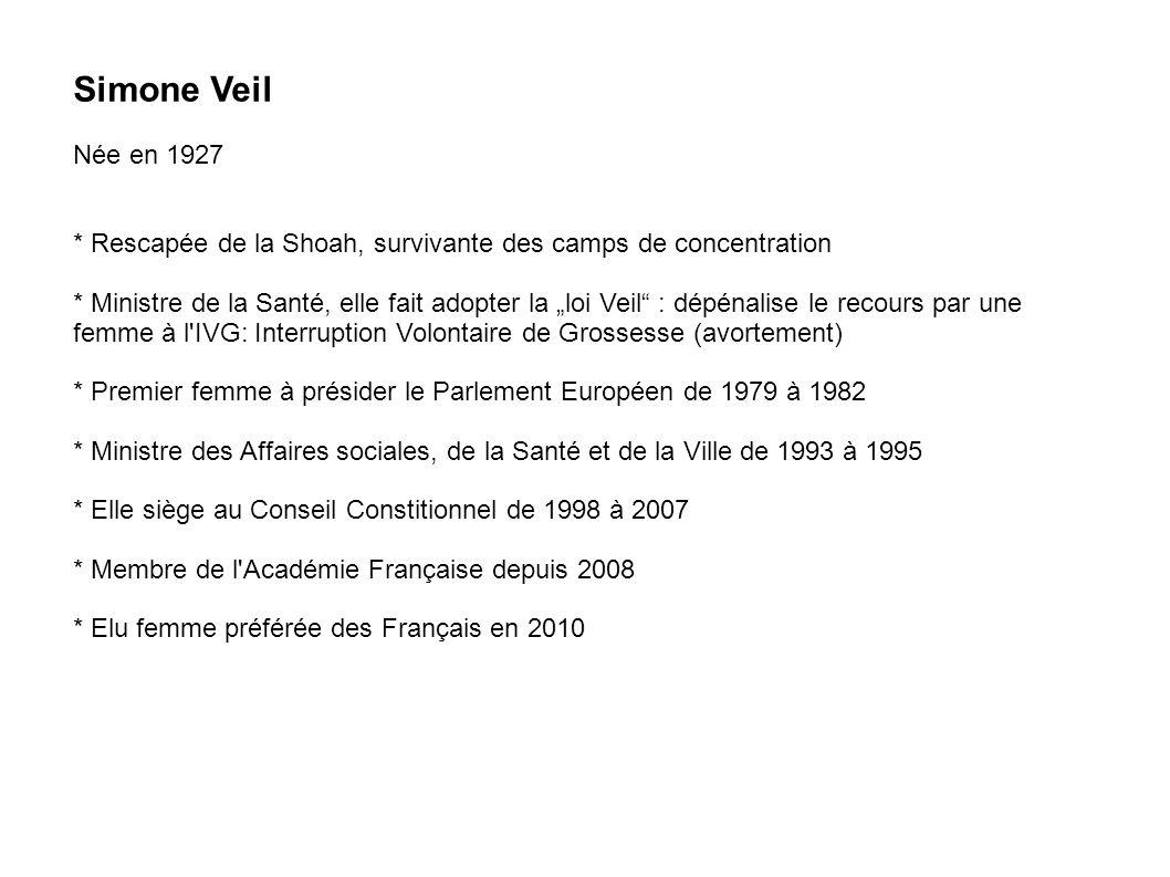 Simone Veil Née en 1927. * Rescapée de la Shoah, survivante des camps de concentration.