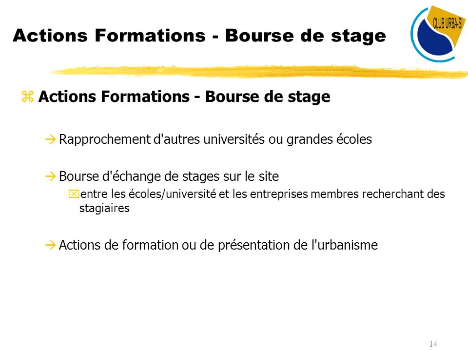 Actions Formations - Bourse de stage