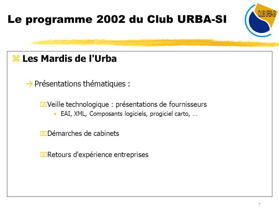 Le programme 2002 du Club URBA-SI