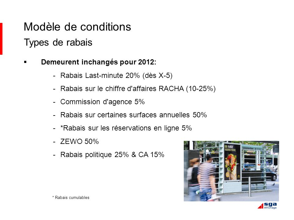 Modèle de conditions Types de rabais Demeurent inchangés pour 2012: