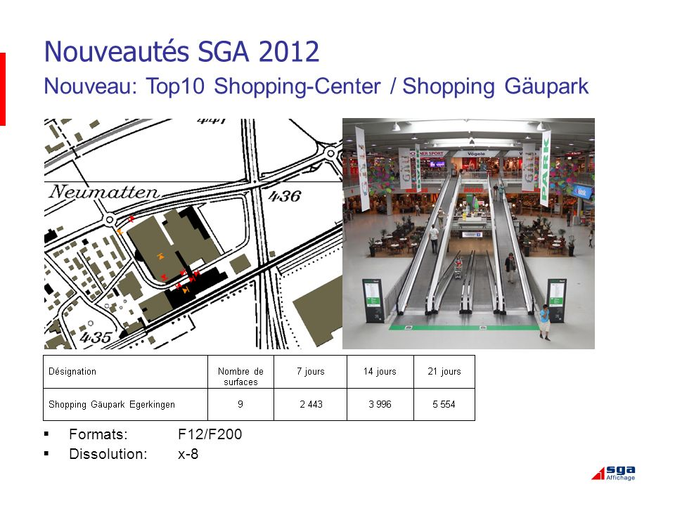 Nouveautés SGA 2012 Nouveau: Top10 Shopping-Center / Shopping Gäupark