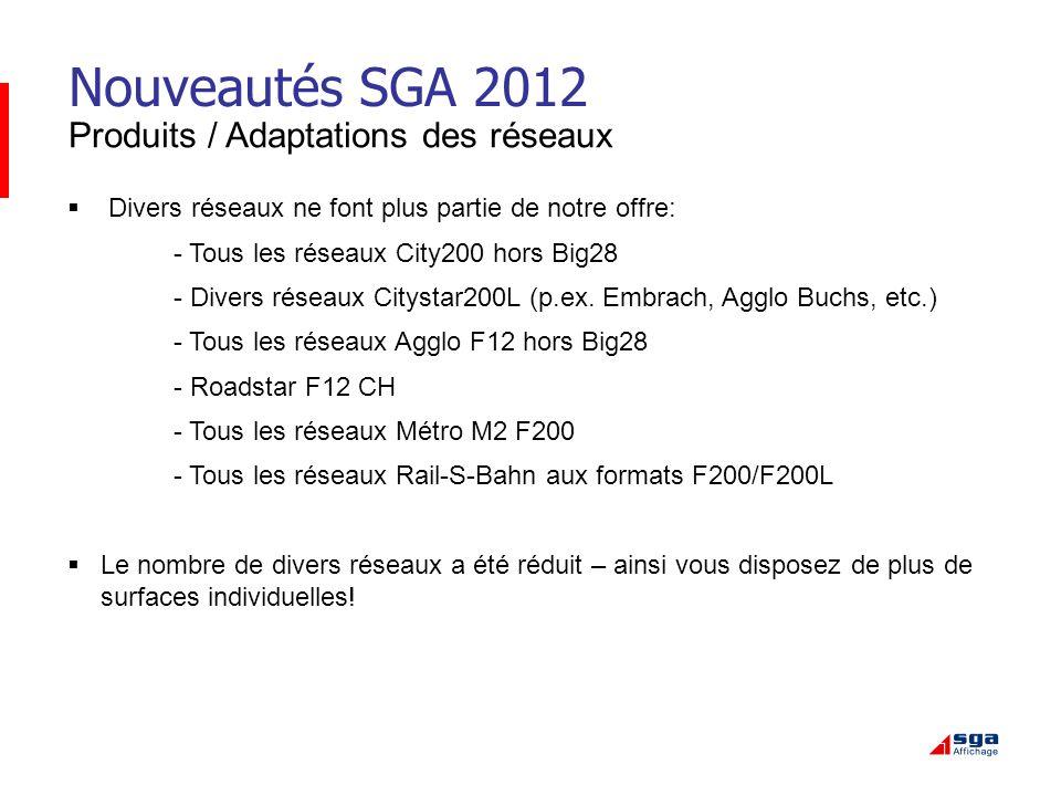 Nouveautés SGA 2012 Produits / Adaptations des réseaux