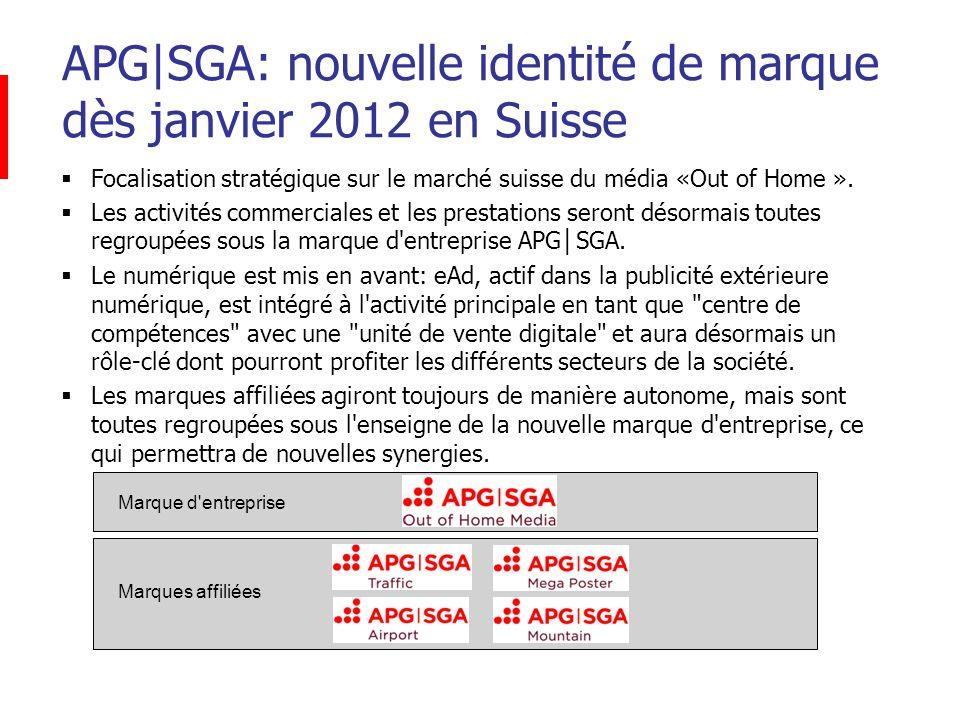 APG|SGA: nouvelle identité de marque dès janvier 2012 en Suisse