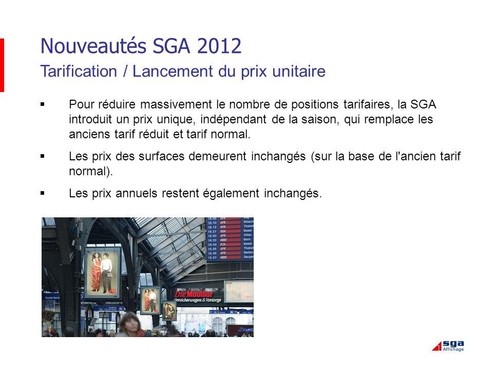 Nouveautés SGA 2012 Tarification / Lancement du prix unitaire
