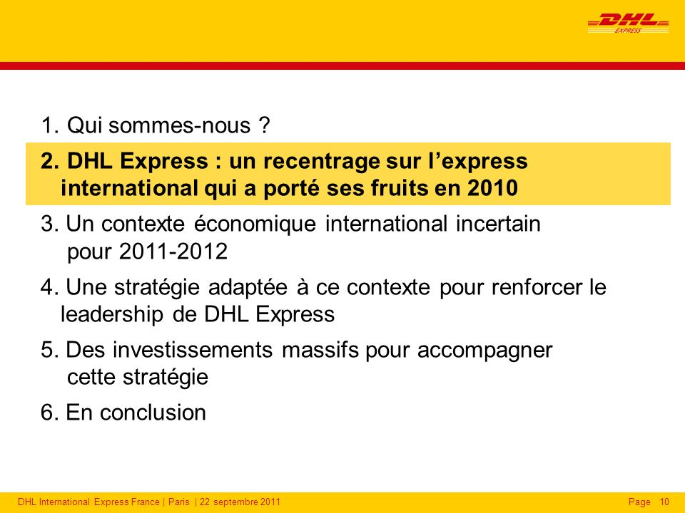 2010 : DHL Express France confirme son leadership