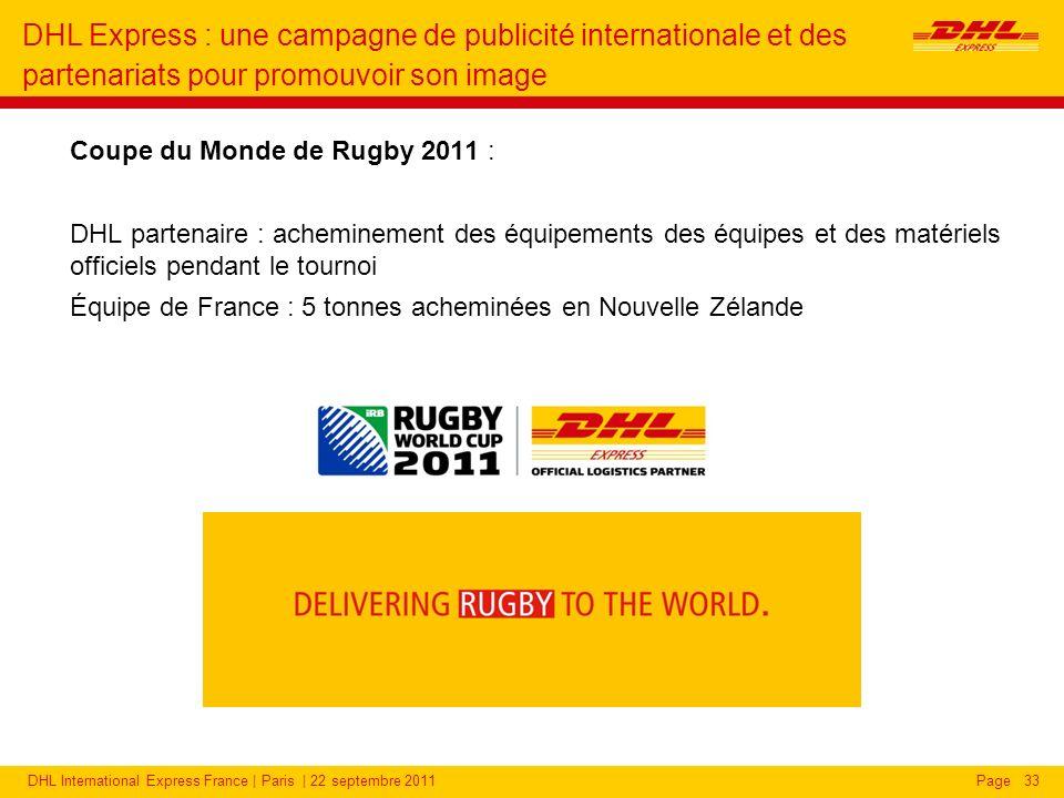 DHL Express partenaire de la Coupe du Monde de Rugby 2011