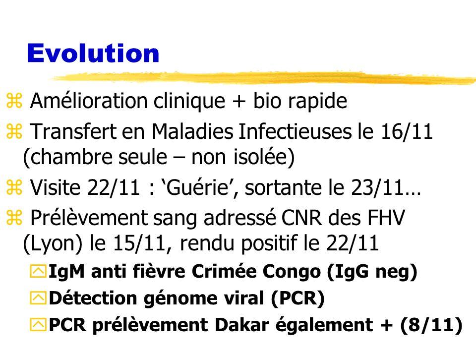 Evolution Amélioration clinique + bio rapide