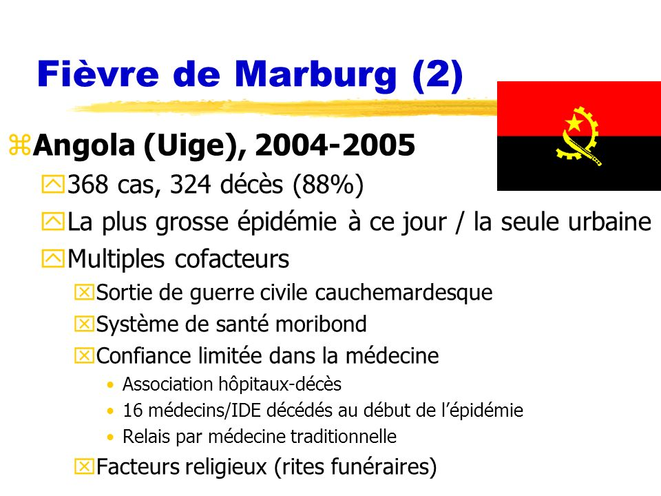 Fièvre de Marburg (2) Angola (Uige), 2004-2005