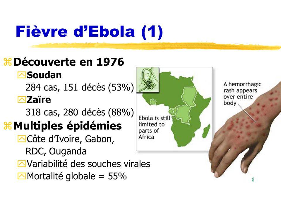 Fièvre d'Ebola (1) Découverte en 1976 Multiples épidémies Soudan