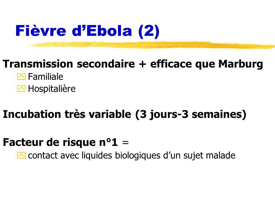 Fièvre d'Ebola (2) Transmission secondaire + efficace que Marburg