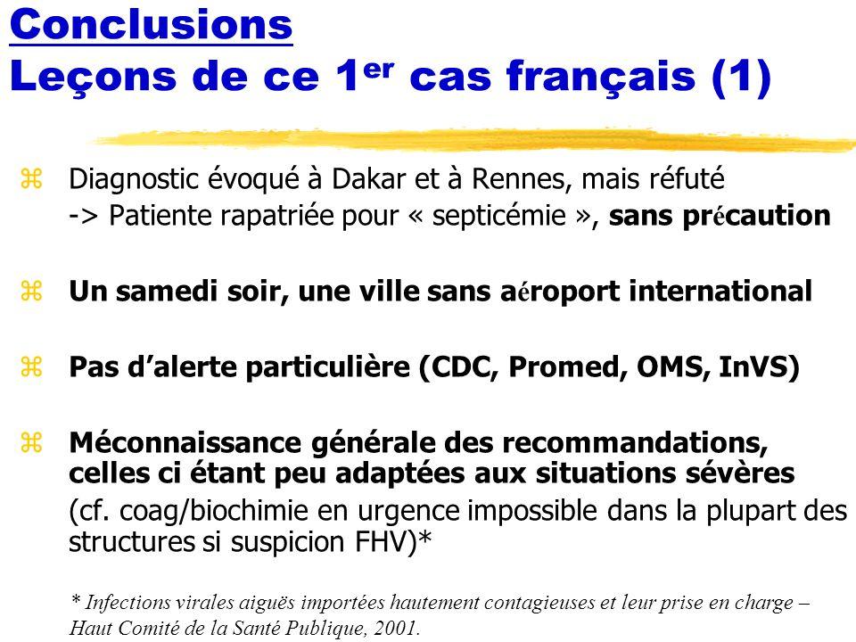 Conclusions Leçons de ce 1er cas français (1)