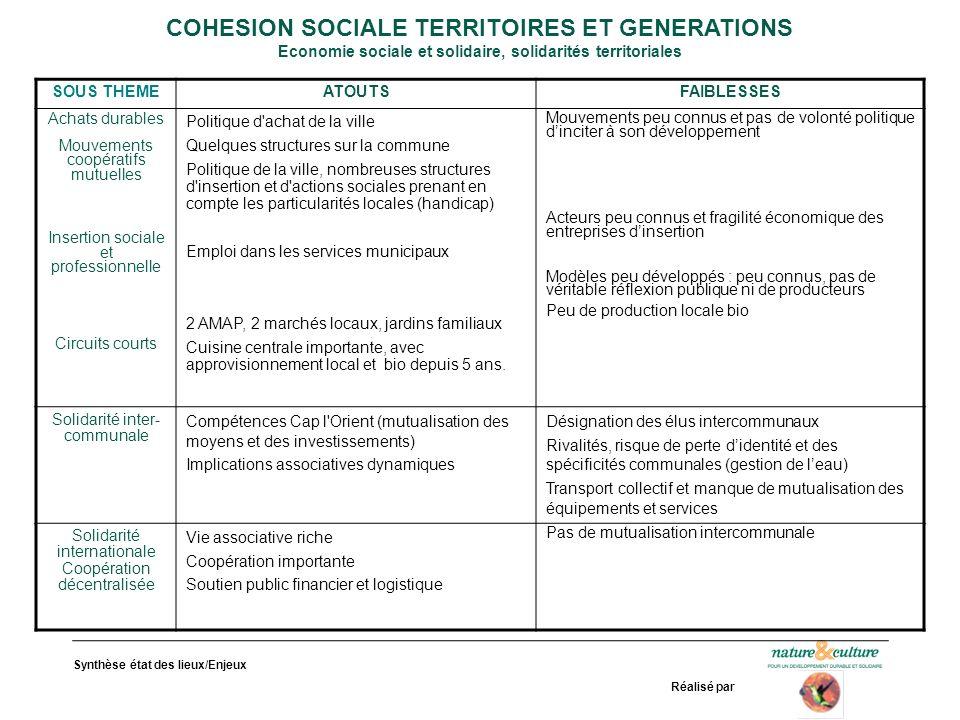 COHESION SOCIALE TERRITOIRES ET GENERATIONS