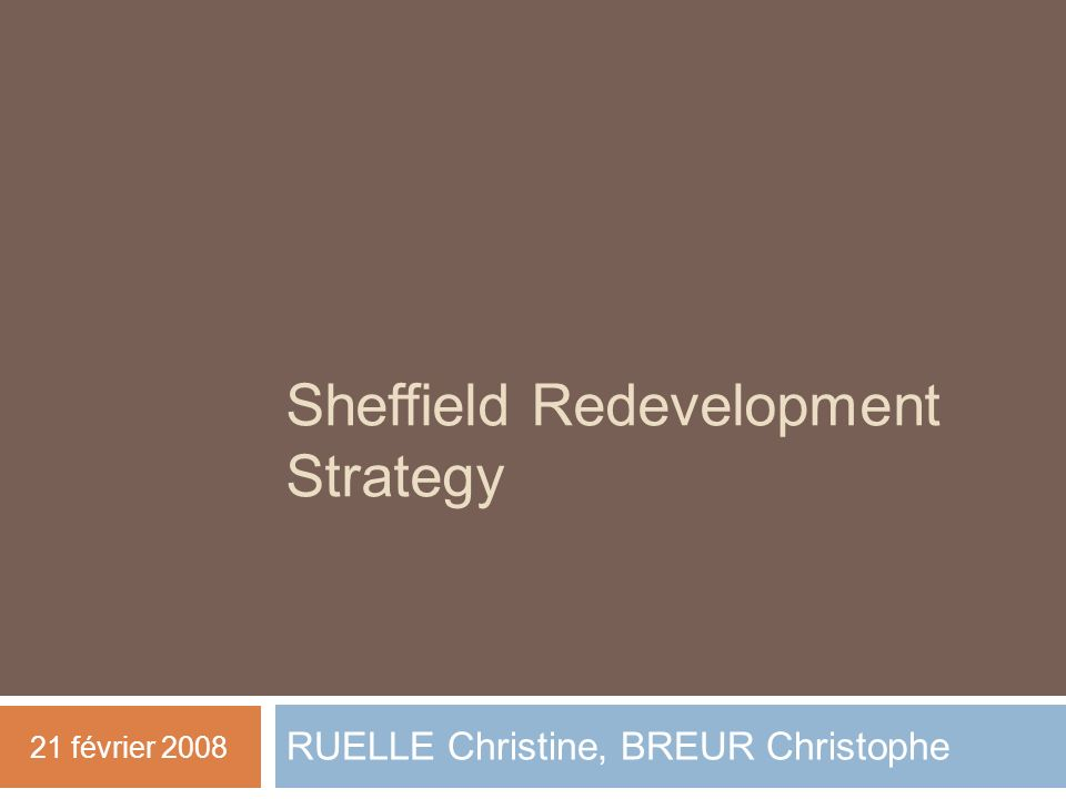 Sheffield Redevelopment Strategy