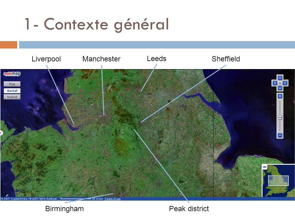 1- Contexte général Liverpool Manchester Leeds Sheffield Birmingham