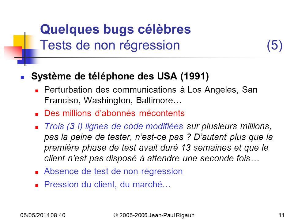 Quelques bugs célèbres Tests de non régression (5)