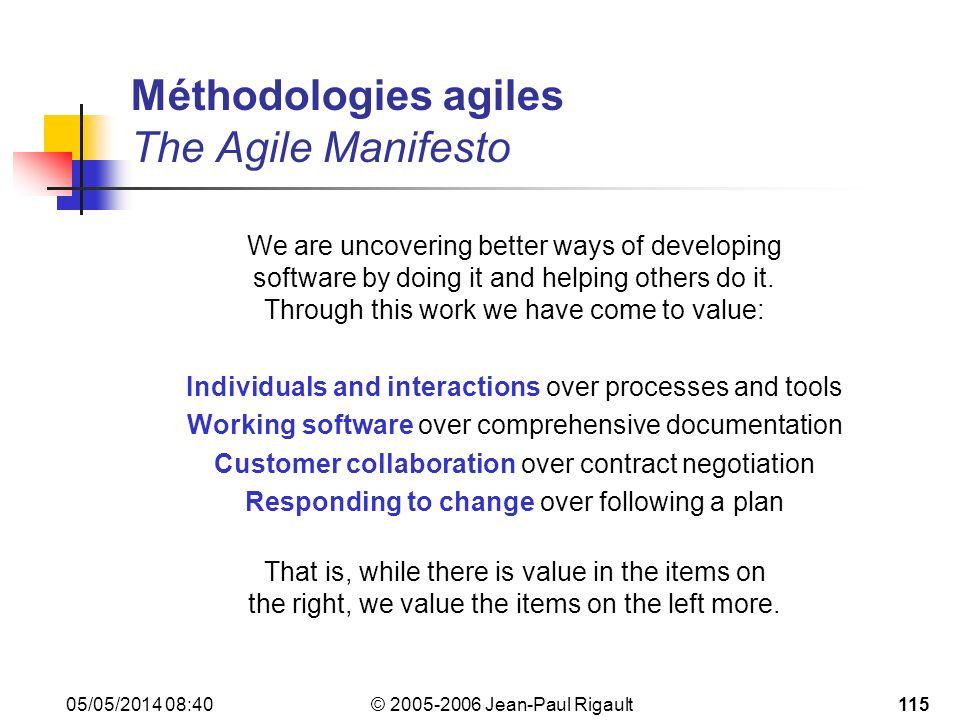 Méthodologies agiles The Agile Manifesto