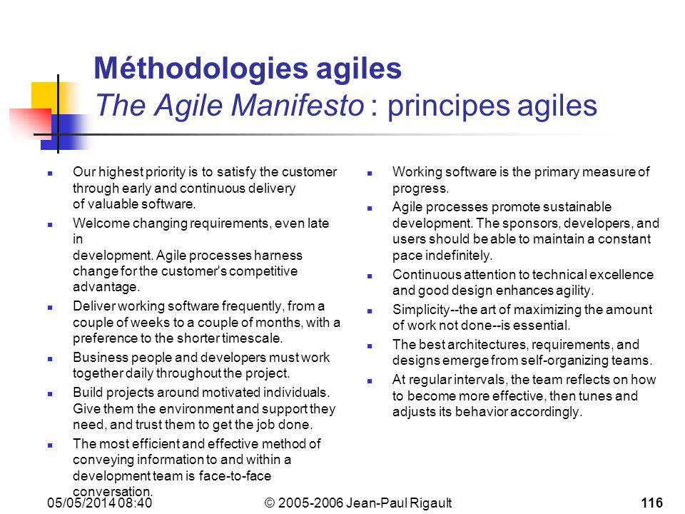 Méthodologies agiles The Agile Manifesto : principes agiles